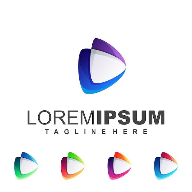 Bleu violet media logo Vecteur Premium