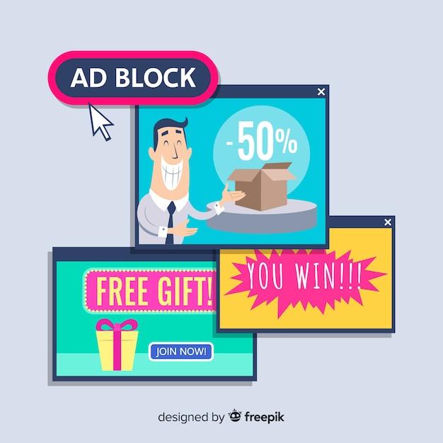 Bloc annonce pop concept bannière Vecteur gratuit