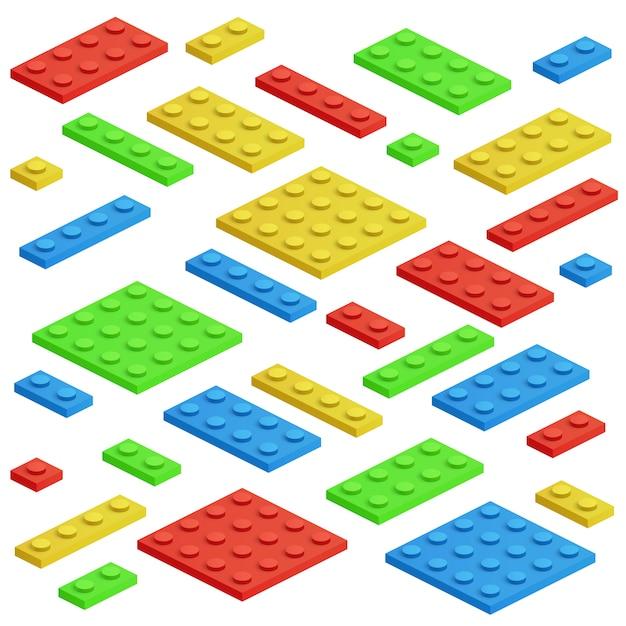 Bloc de construction isométrique, jeu de vecteur de briques jouet enfants Vecteur Premium