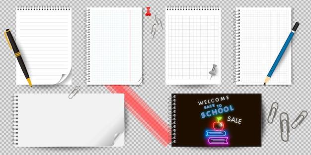 Bloc-notes ou bloc-notes réaliste avec classeur isolé. bloc-notes ou agenda avec des modèles de page en papier ligné et quadrillé. Vecteur Premium