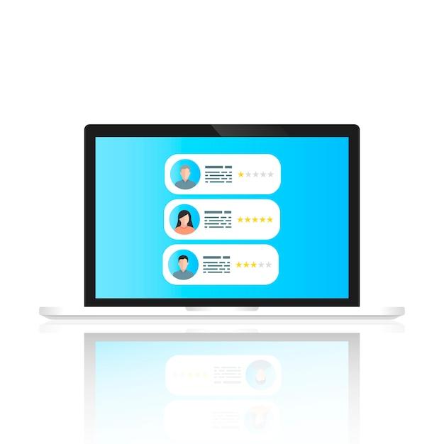 Un bloc-notes avec des commentaires d'utilisateurs à l'écran Vecteur Premium