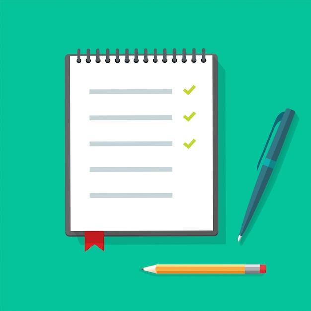 Bloc-notes De Papier Journal Ou Illustration De Cahier Avec Liste De Contrôle Et Crayons à Stylos Sur Le Bureau De La Table Vecteur Premium