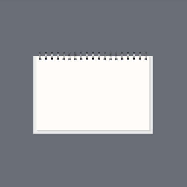 Bloc-notes En Papier Réaliste Avec Ressorts En Acier Vecteur Premium