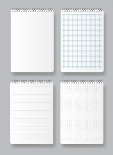 Bloc-notes En Spirale Réaliste. Divers Livres Blancs Pour Le Texte. Pages Vierges De Cahier D'école Avec Marges Vecteur Premium