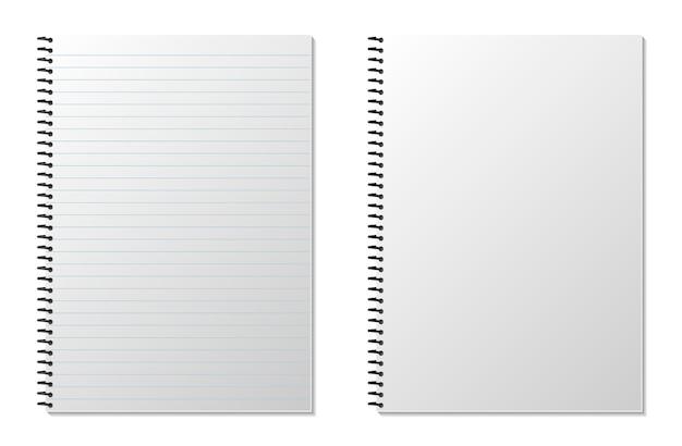 Bloc-notes à Spirale Réaliste Vierge Isolé Sur Blanc Vecteur Premium