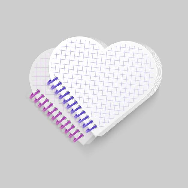 Bloc-notes à Spirale Vierge Avec Forme De Coeur Vecteur Premium