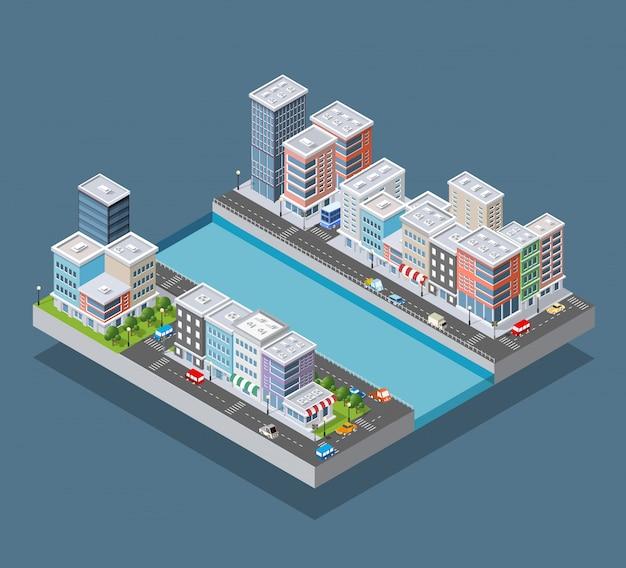 Bloc de ville isométrique Vecteur Premium