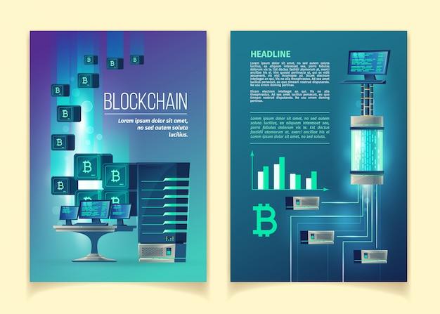 Blockchain, ferme pour l'exploitation de bitcoins, les technologies internet modernes vector illustration de concept. Vecteur gratuit