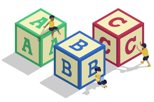 Blocs D'alphabet Isométriques Pour Enfants Vecteur Premium