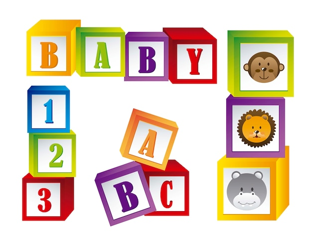 Blocs de bébé avec visage animaux et lettres vector illustration Vecteur Premium