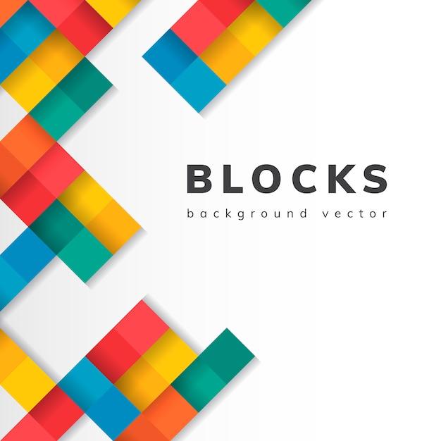 Blocs colorés sur le vecteur de fond blanc blanc Vecteur gratuit