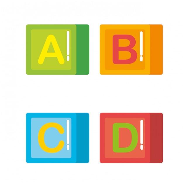 Blocs Avec Des Jouets En Alphabet Vecteur gratuit