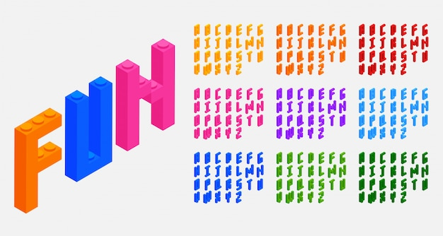 Blocs de plastique briques jouets alphabets lettres ensemble Vecteur gratuit
