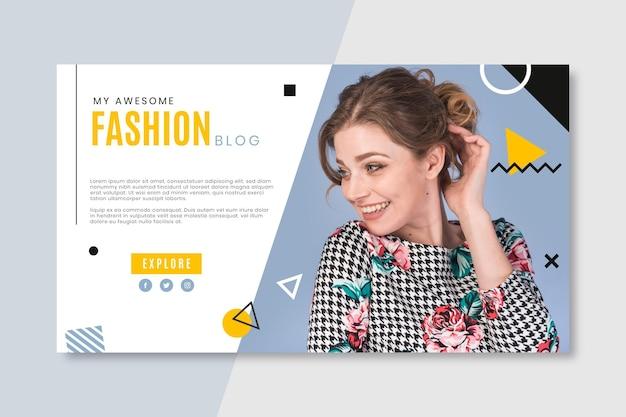 Blog De Bannière De Mode Avec Photo Vecteur gratuit