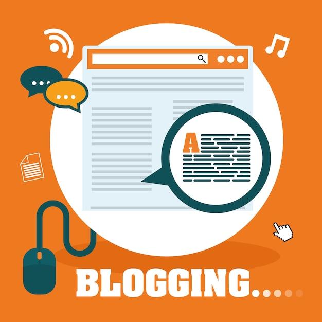 Blog et technologie graphique, illustration vectorielle eps10 Vecteur Premium