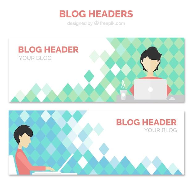 Blog-têtes avec un blogueur Vecteur gratuit