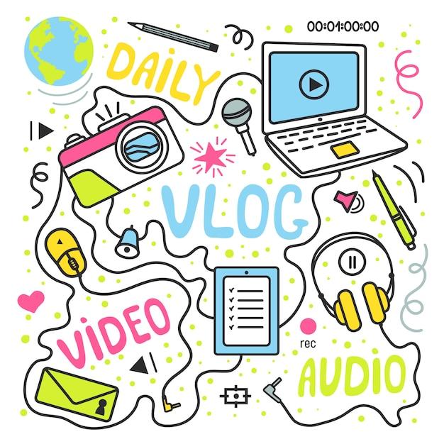 Blog vidéo ou blog vidéo ou canal vidéo contenant des éléments dessinée à la main. illustration vectorielle faite dans un style doodle, design coloré. Vecteur Premium