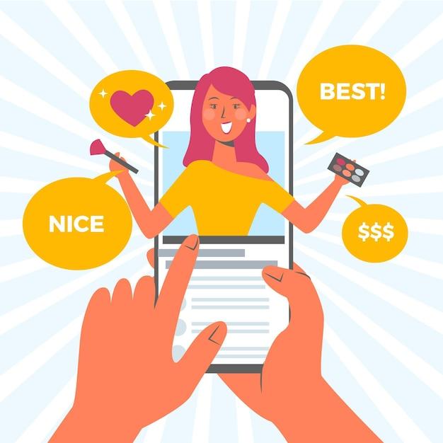 Blogger Examen Concept Avec Femme Vecteur gratuit