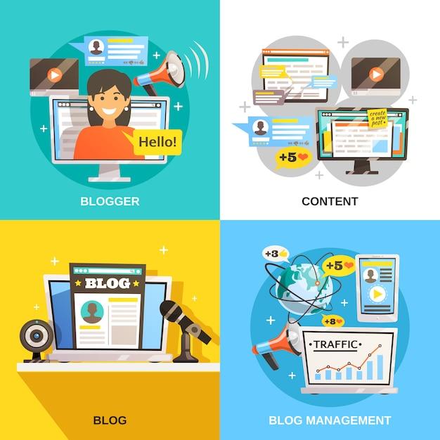 Blogger square design concept Vecteur gratuit