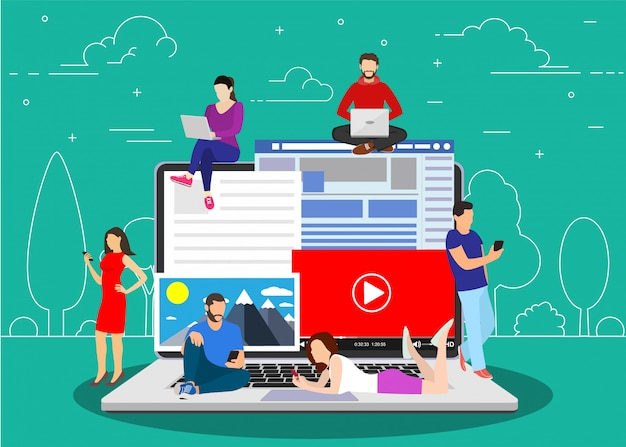 Blogging, Blogger. Free-lance. Vecteur Premium