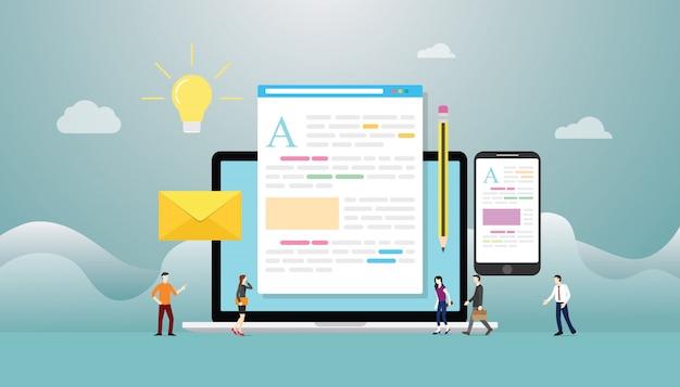 Blogging ou concept créatif de blog avec ordinateur portable et développement de contenu avec des personnes de l'équipe avec un style plat moderne Vecteur Premium