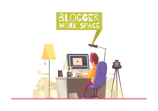 Blogging Work Space Background Vecteur gratuit