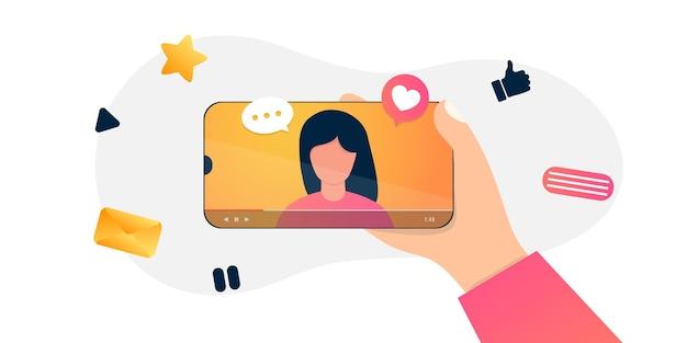 Blogueur Internet De Dessin Animé Enregistrant Du Contenu Multimédia. Blog Vidéo De Tournage D'influenceurs. Fille Prend La Photographie Sur Son Smartphone Vecteur Premium