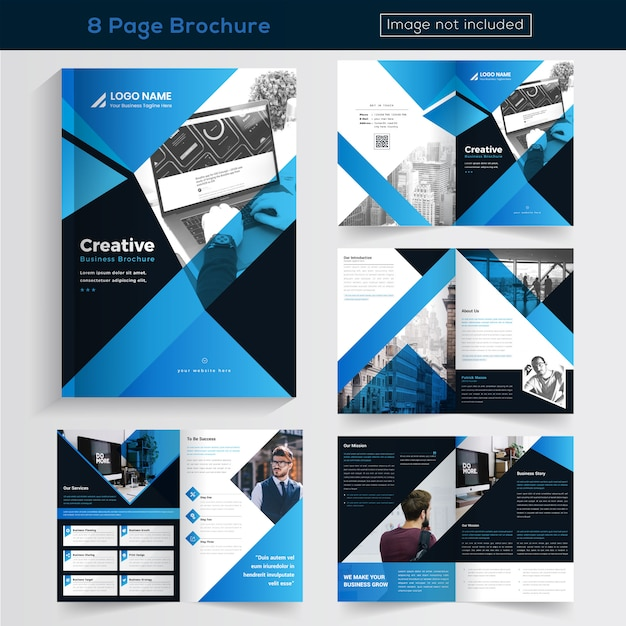 Blue 8 pages brochure design for business Vecteur Premium