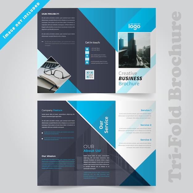 Blue blue design à trois volets Vecteur Premium