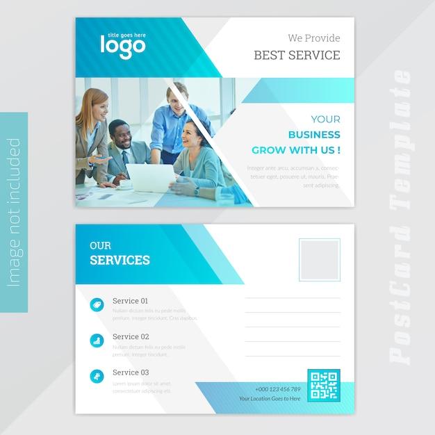 Blue busness post card design Vecteur Premium