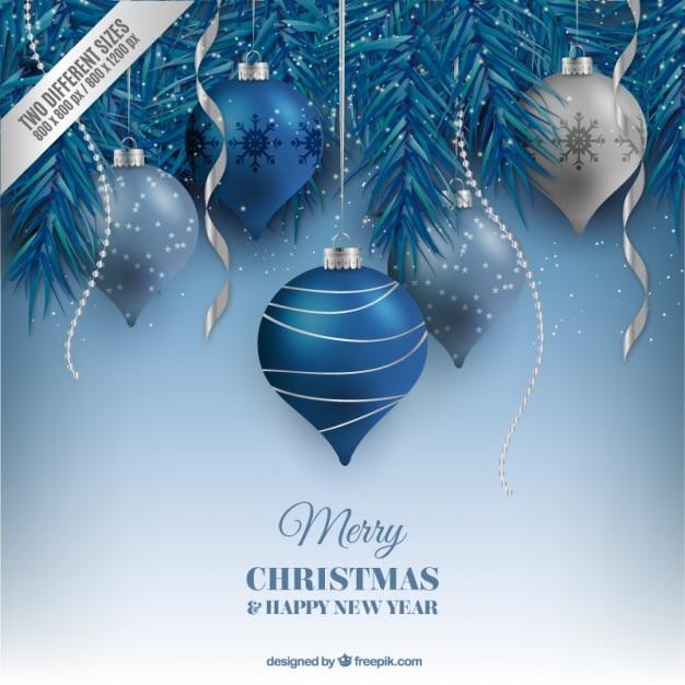 Blue christmas balls Vecteur gratuit