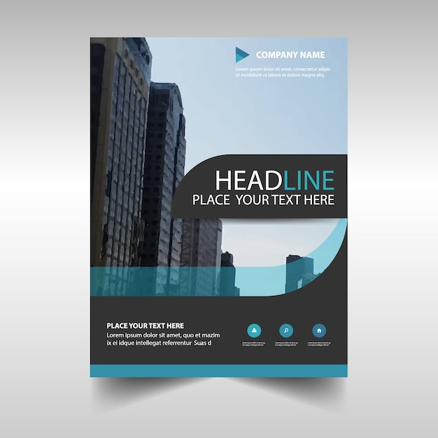 Blue creative annual book book cover template Vecteur gratuit