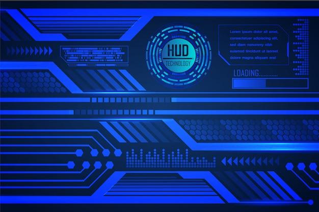 Blue hud cyber circuit futur technologie concept fond Vecteur Premium