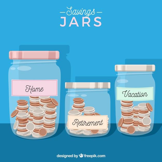 Blue Jars Background Avec Des économies Vecteur gratuit