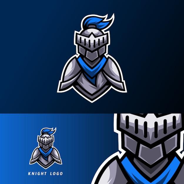 Blue knight modèle de conception de logo esport sport avec armure et casque Vecteur Premium