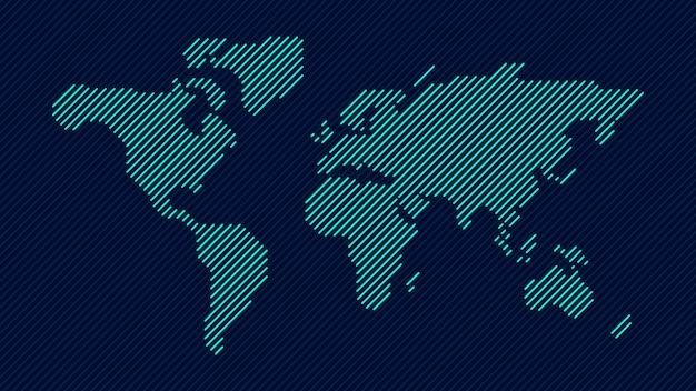 Blue line carte du monde Vecteur Premium