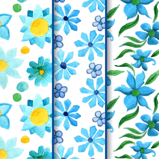 Blue watercolor flower patterns Vecteur Premium