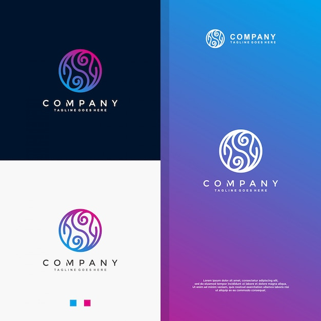 Blue yin yang monoline logo Vecteur Premium