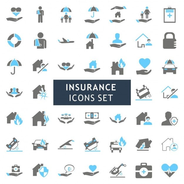 Blur Et Gray Assurance Coloré Icon Set Vecteur gratuit
