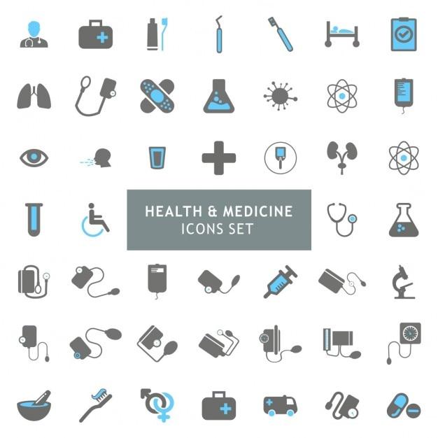 Blur et gray santé coloré et médecine icon set Vecteur gratuit