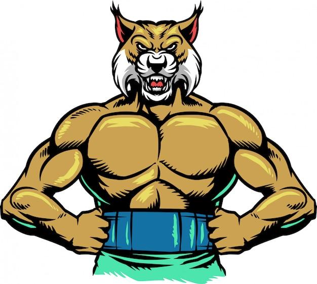 Bobcat muscle Vecteur Premium