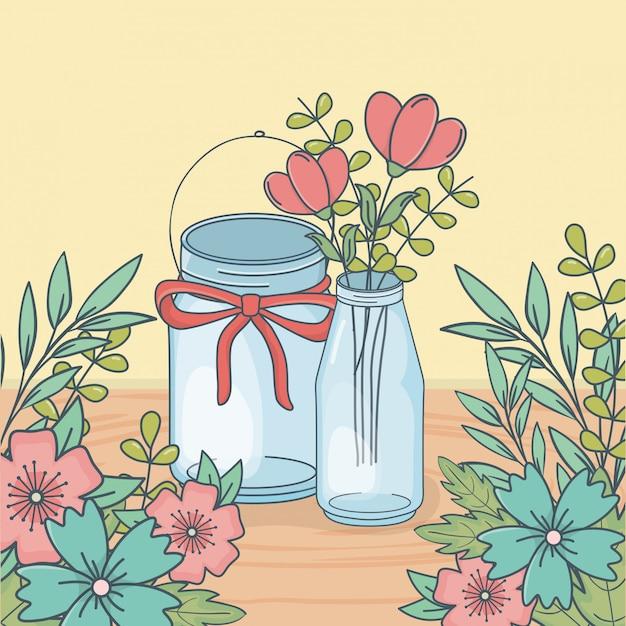 Bocal Avec Décoration Florale En Parquet Vecteur Premium