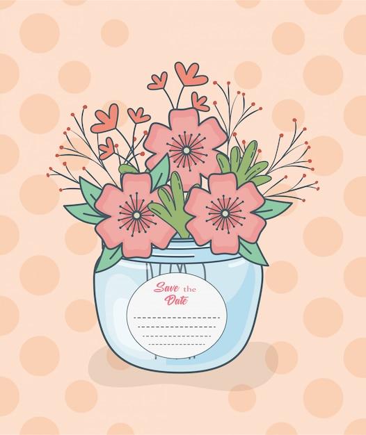 Bocal Avec Des Décorations Florales Et Une Carte De Date Vecteur Premium