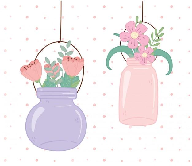 Bocaux Mason En Verre Décoration Fleurs Suspendues Vecteur Premium