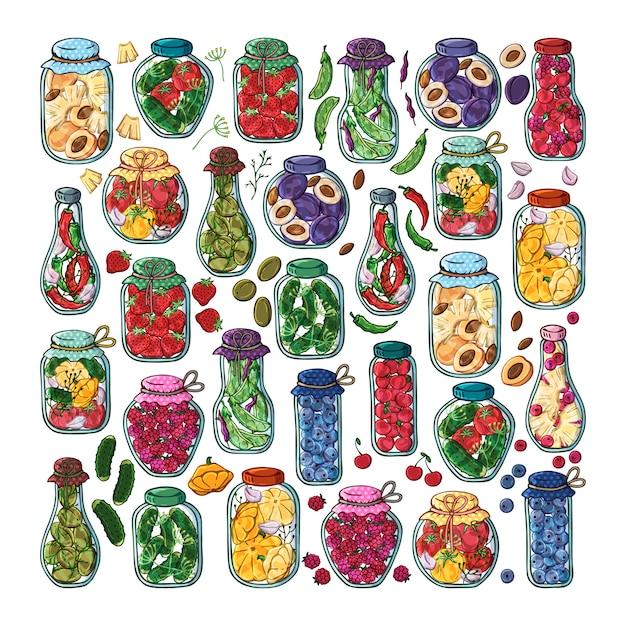Bocaux de vecteur de conserves de légumes et de fruits. Vecteur Premium