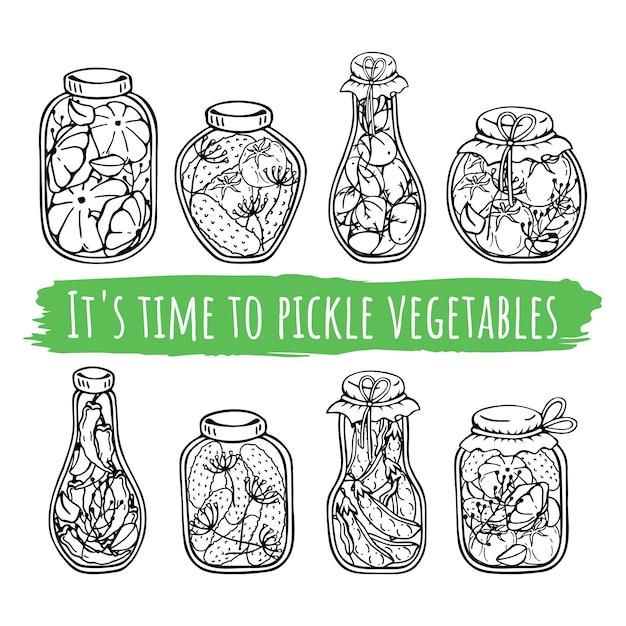 Bocaux de vecteur de conserves de légumes. Vecteur Premium