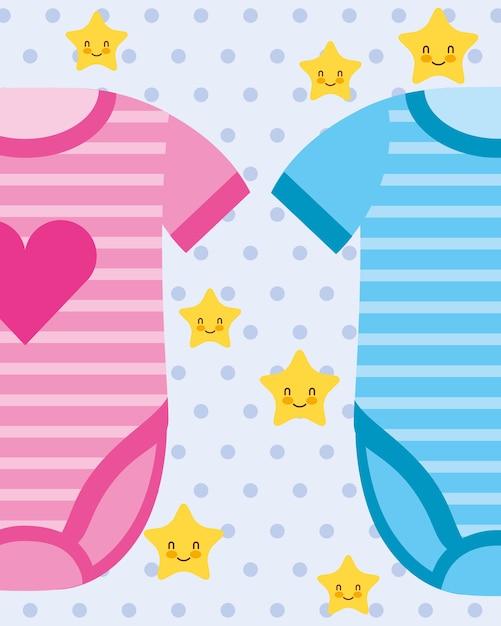 Body bébé rose et bleu vêtements vector illustration Vecteur Premium