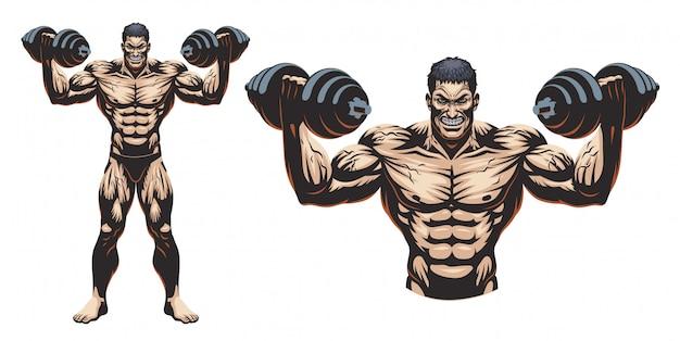 Bodybuilder Complet Du Corps Avec Haltère Vecteur Premium