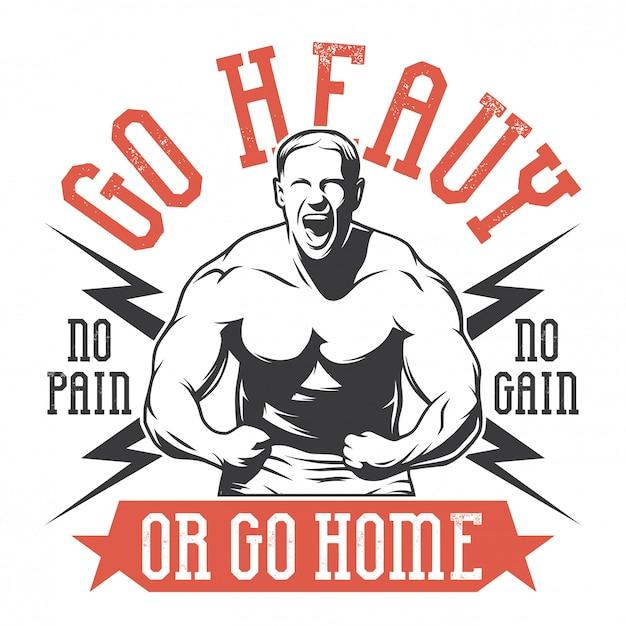 Bodybuilder Dans Une Pose Héroïque Vecteur Premium