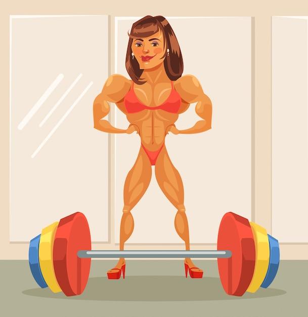 Bodybuilder femme. bande dessinée plate Vecteur Premium